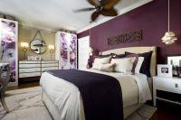 Candice Olson bedroom--plum wall, cabinets, darker purple ...