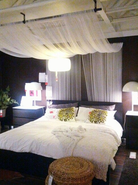 IKEA Bedroom Design: Drape sheer fabric panels from