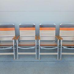 Walmart Lawn Chair Burlap Covers Ideas Set Of 4 Vinyl Aluminum Web Chair,wood Arms, Mid Century Modern,porch Chair,soccer ...