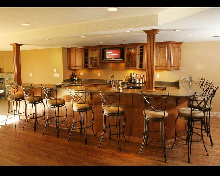 Rec rooms + wet bars friends + family hang out at home. Large Bright Basement Rec Area   Bar & Rec Room Design ...