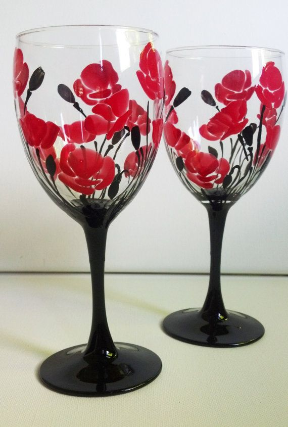 bridal party hand painted wine glasses