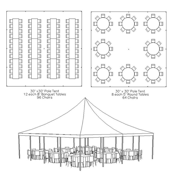 Basic layout of a 30X30 frame tent. Seats around 90 guests