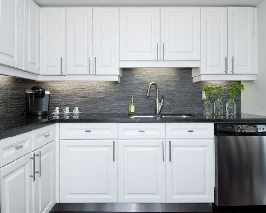 remodel small kitchen backsplash tile ideas modern artistic condo applying white and gray theme ...