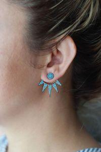 Turquoise Ear Jacket Double Sided Earrings Front Back ...