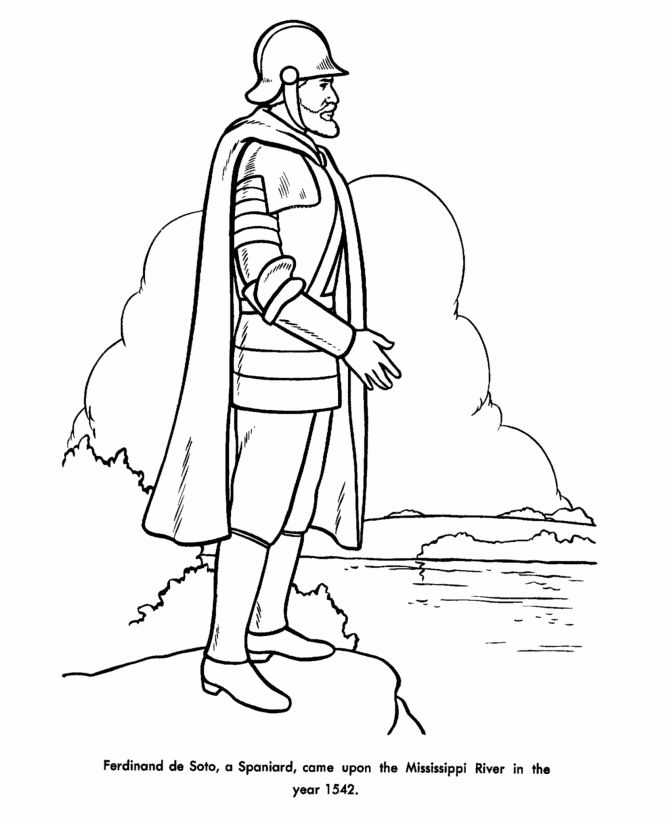 Ferdinand deSoto Discovers the Mississippi Coloring Page