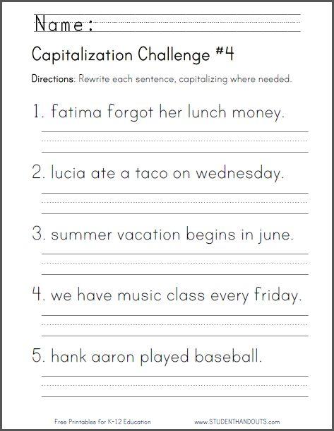 Capitalization Challenge Worksheet 4