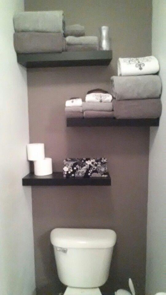 Like the staggered shelves  Over the toilet shelves  Pinterest  The box Shelves and Closet