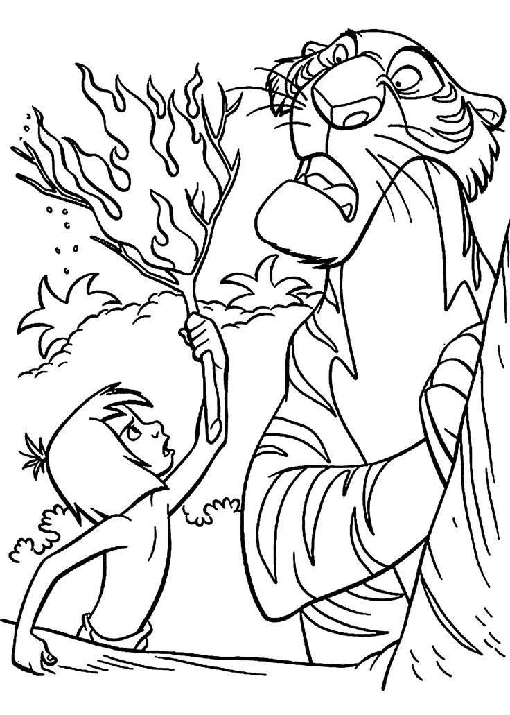 Mowgli and Shere Khan The jungle book coloring pages for