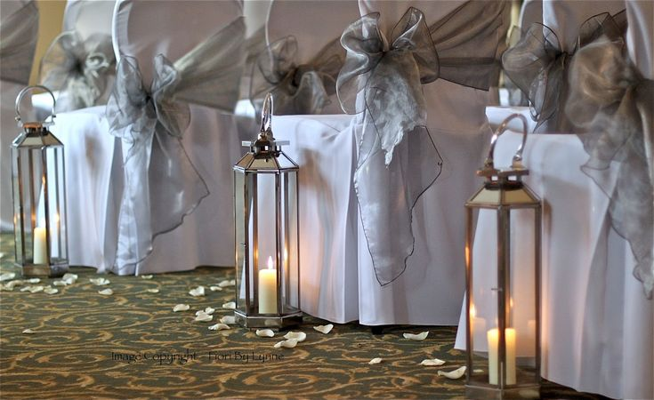 chair cover decorations for wedding leather accent modern tall lanterns | my lovely new silver lining the aisle . how gorgeous do they ...