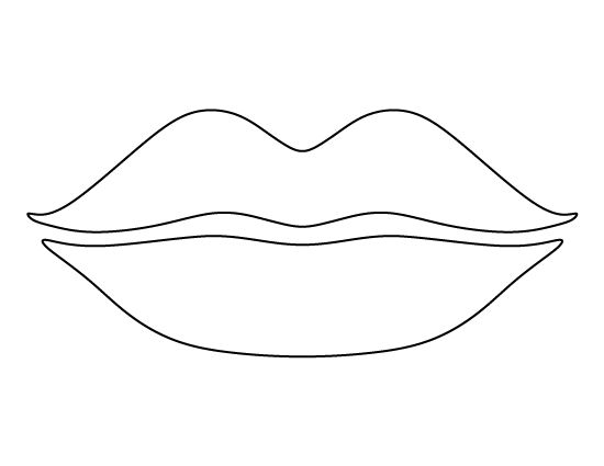 Lips pattern. Use the printable outline for crafts