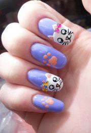 meow 40 kitty cat nail design