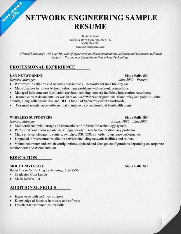 Network Engineering Resume Sample Resume Prep