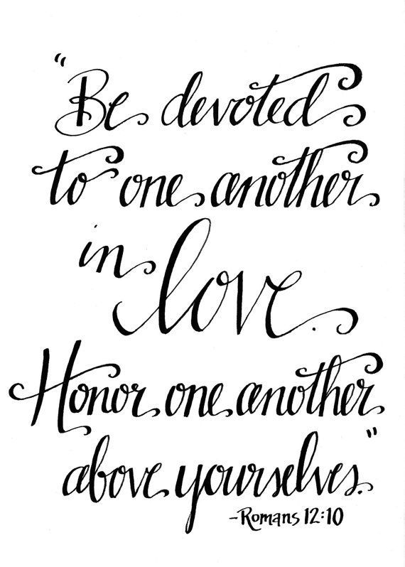 Bible Verse Wall Art / Be Devoted to One Another in LOVE