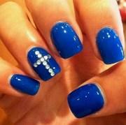 cute dark blue nails with rhinestone