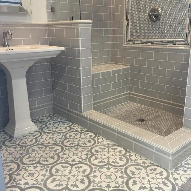 Bathroom tiles  Cheverny Blanc Encaustic Cement Wall and