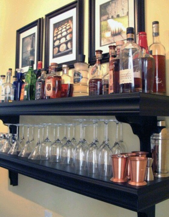 Mini bar from shelves  Home bar ideas  Pinterest  Mini bars Bar and Minis