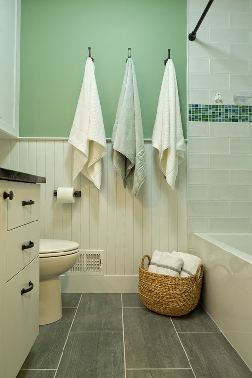 Cottage Full Bathroom With European Cabinets Wainscoting