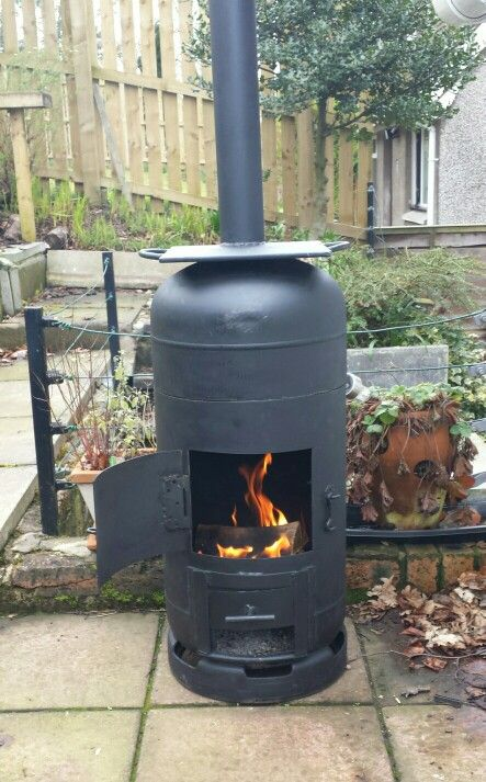 Roberts finally finished making his bespoke gas bottle wood burnerbarbecuesmoker  Gas