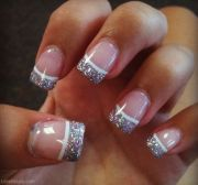 glitter french tip nails girly