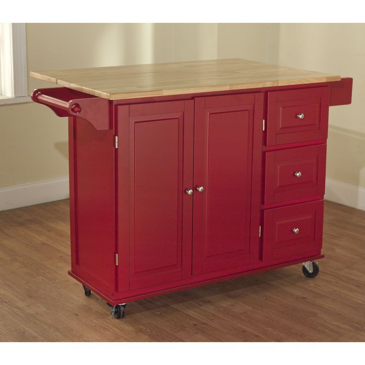 kitchen island cart target sink drain parts simple living aspen red/ natural three-drawer by ...