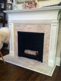 Finito. Travertine subway tile fireplace. #TheFan | Home ...