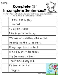 Complete Sentences Worksheets Third Grade - 1000 ideas ...
