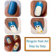penguin nail art design step