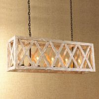 5 Light Wood Lattice Island Chandelier