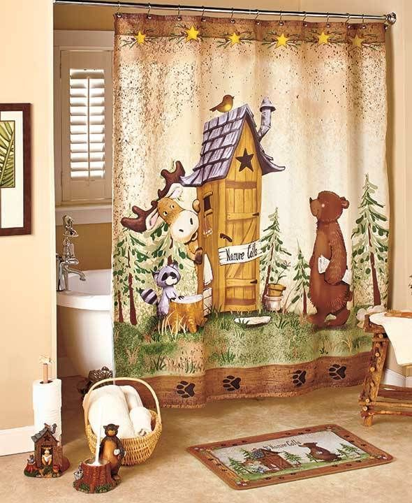 Nature Calls Shower Curtain Comical Bear Moose Outhouse Country Bathroom Decor Country