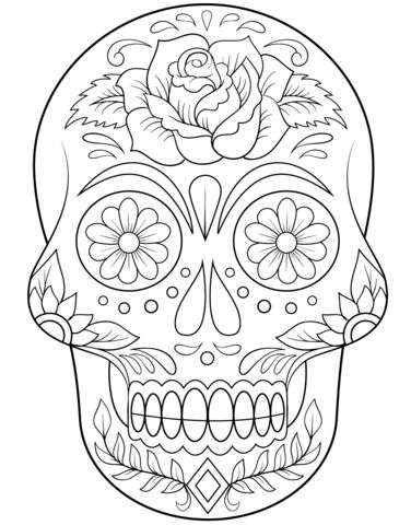 Sugar Skull with Flowers Coloring page from Day of the