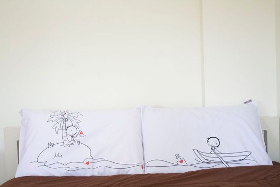Valentine Couple Pillow Cases island set for hisher by