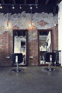 Industrial hair salon design Chairs&mirrors Wall design ...