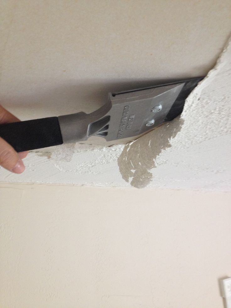 If you have popcorn ceiling that is covered in paint or drywall compound  paint like mine was