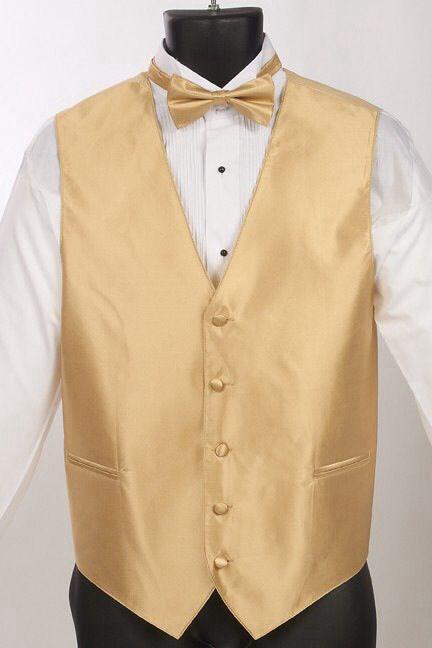 Mens gold tuxedo vest with bow tie  Prom  Pinterest  Vests Tuxedo vest and Tuxedos