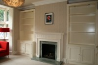fireplace with fitted alcove cupboard / cabinet / shelves ...