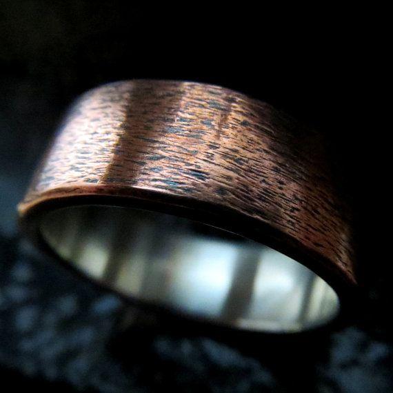 Mens wedding ring rustic copper silver wedding band unique ring steampunk custom wedding