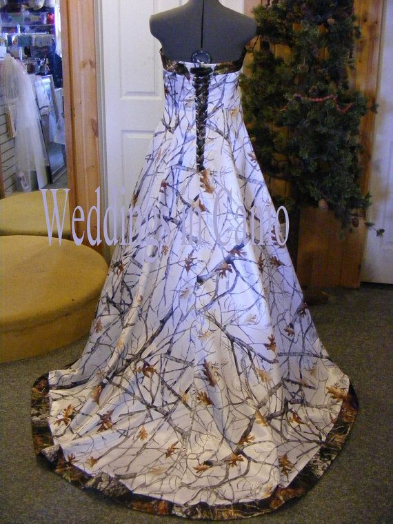Camo Wedding Dress Corset Back Snow and Mossy Oak  Camo Wedding Dresses Wedding Dress Corset