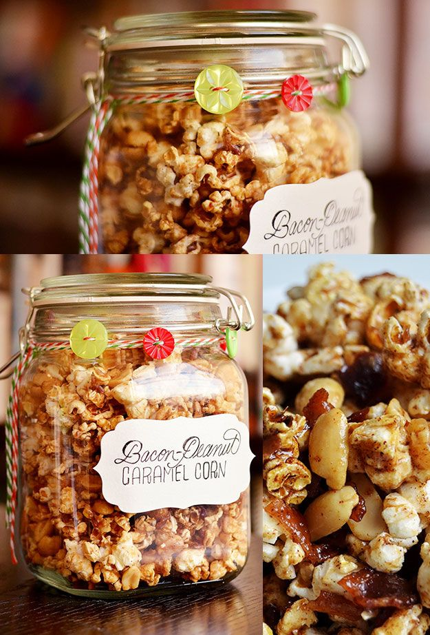 Bacon-Peanut Caramel Corn  Makes 16 cups, enough to fill 4 34-oz clip jars (pict