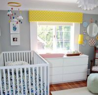 Love the wall color and bright pops of color! Gray ...