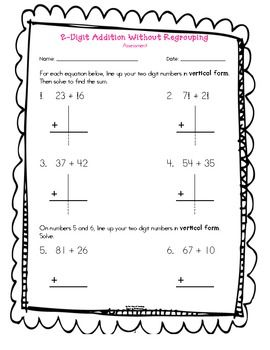 Here's a quick assessment for 2-digit addition without