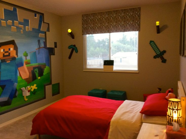 17 Best images about MINECRAFT MURAL  THEMED BEDROOM on