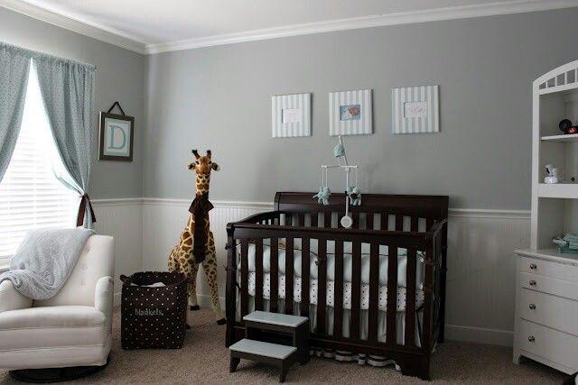 Gray/blue/brown baby boy nursery