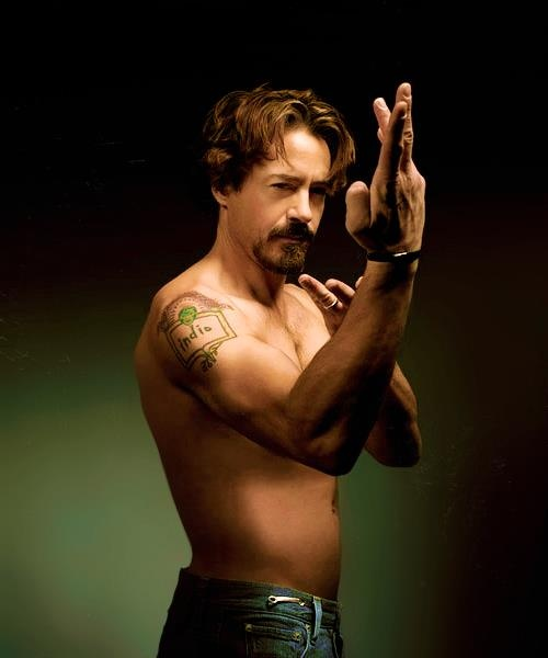 Robert Downey Jr sporting his Indio son tattoo  My one