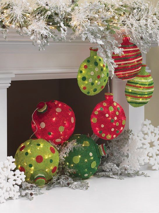 large outdoor lighted christmas ornaments