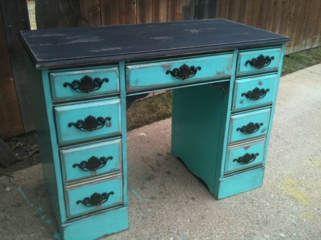 antique desk in turquoise and black  Furniture Ive Done