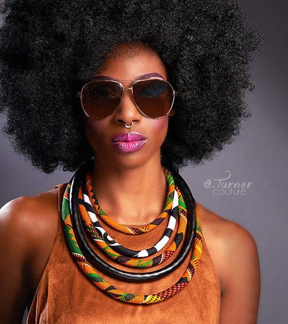 Kente imprimé collier - Bijoux Kente africain - africain Kente imprimé collier - orange, de vert, de jaune et de noir