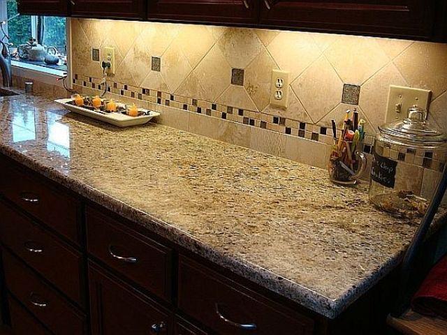 blue kitchen backsplash tile white distressed cabinets new venetian gold granite countertops | dream home ...