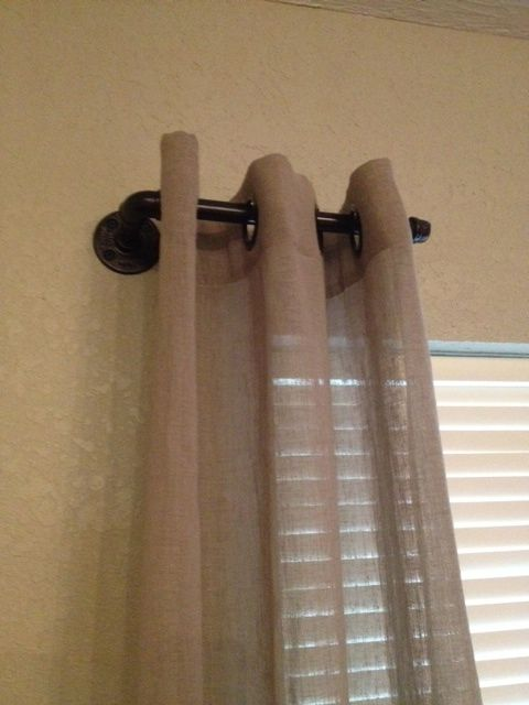 We Created A Curtain Rod Out Of Galvanized Pipe Flange And Elbow Piece Spray Painted It With