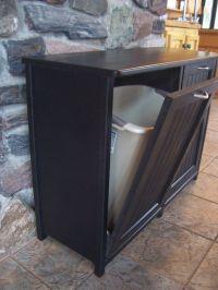 New Black Painted Wood Double Trash Bin Cabinet Garbage ...