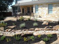 Backyard landscape - beautiful flagstone patio, stairs ...